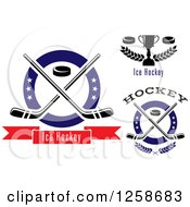 Clipart Of Pucks And Crossed Hockey Sticks In Rings With Stars And Text Royalty Free Vector Illustration