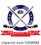 Clipart Of A Puck And Crossed Hockey Sticks In A Ring With Stars Over A Blank Banner Royalty Free Vector Illustration by Vector Tradition SM