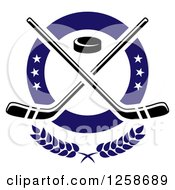 Clipart Of A Puck And Crossed Hockey Sticks In A Ring With Stars Royalty Free Vector Illustration by Vector Tradition SM