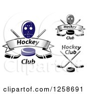 Clipart Of Hockey Pucks Crossed Sticks Banners And Masks Royalty Free Vector Illustration