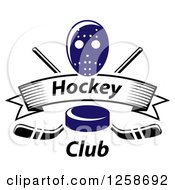 Clipart Of A Blue Hockey Puck Over Crossed Sticks A Banner With Text And Mask Royalty Free Vector Illustration