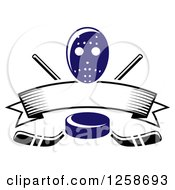 Clipart Of A Blue Hockey Puck Over Crossed Sticks A Blank Banner And Mask Royalty Free Vector Illustration