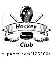 Clipart Of A Black And White Hockey Puck Over Crossed Sticks A Text Banner And Mask Royalty Free Vector Illustration