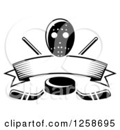 Clipart Of A Black And White Hockey Puck Over Crossed Sticks A Blank Banner And Mask Royalty Free Vector Illustration