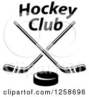 Clipart Of A Black And White Hockey Puck Under Crossed Sticks And Text Royalty Free Vector Illustration