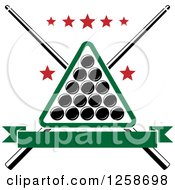 Clipart Of A Billiards Triangle With Balls Crossed Cue Sticks And Stars Royalty Free Vector Illustration