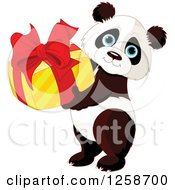 Clipart Of A Cute Panda Holding A Birthday Or Christmas Gift Royalty Free Vector Illustration