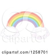 Clipart Of A Floating Rainbow Arch And Clouds Royalty Free Vector Illustration