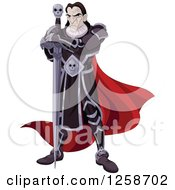 Clipart Of An Evil Black Knight With A Skull Sword Royalty Free Vector Illustration by Pushkin