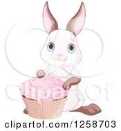 Clipart Of A Cute Bunny Rabbit With A Pink Cupcake Royalty Free Vector Illustration
