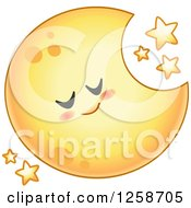 Clipart Of A Yellow Sleeping Crescent Moon With Stars Royalty Free Vector Illustration