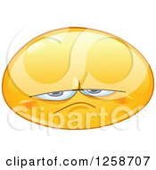 Clipart Of A Grumpy Or Upset Yellow Smiley Emoticon Royalty Free Vector Illustration