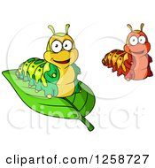 Clipart Of Happy Caterpillars Royalty Free Vector Illustration