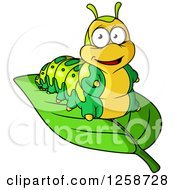 Clipart Of A Happy Caterpillar On A Leaf Royalty Free Vector Illustration by Vector Tradition SM