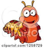 Clipart Of A Happy Red And Orange Caterpillar Royalty Free Vector Illustration