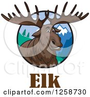 Clipart Of A Smiling Elk In A Circle Of Mountains Over Text Royalty Free Vector Illustration by Vector Tradition SM