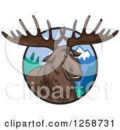 Clipart Of A Smiling Elk In A Circle Of Mountains Royalty Free Vector Illustration by Vector Tradition SM