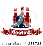 Poster, Art Print Of Bowling Ball With Three Pins Over A Text Banner