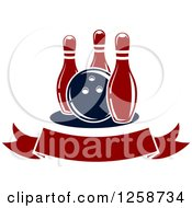Clipart Of A Bowling Ball With Three Pins Over A Blank Ribbon Banner Royalty Free Vector Illustration