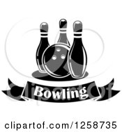 Poster, Art Print Of Black And White Bowling Ball With Three Pins Over A Text Banner