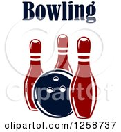 Poster, Art Print Of Bowling Ball With Three Pins And Text