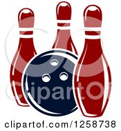 Clipart Of A Bowling Ball With Three Pins Royalty Free Vector Illustration