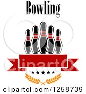 Poster, Art Print Of Text Over Bowling Pins Over A Red Banner Stars And Laurels