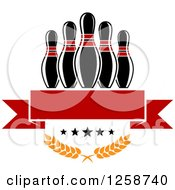Clipart Of Bowling Pins Over A Red Banner Stars And Laurels Royalty Free Vector Illustration by Vector Tradition SM