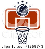 Clipart Of A Basketball And A Hoop With Stars Royalty Free Vector Illustration