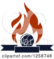 Clipart Of A Basketball With Flames Over A Banner Royalty Free Vector Illustration