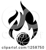 Clipart Of A Black And White Basketball With Flames Royalty Free Vector Illustration