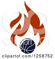 Clipart Of A Basketball With Flames Royalty Free Vector Illustration
