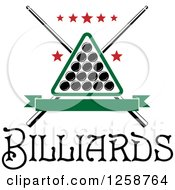 Clipart Of A Billiards Triangle With Balls Crossed Cue Sticks And Stars Over Text Royalty Free Vector Illustration