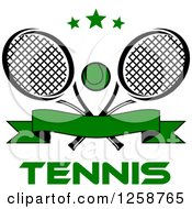 Clipart Of Stars Over Crossed Tennis Rackets And A Ball With A Banner And Text Royalty Free Vector Illustration