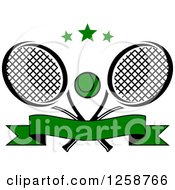 Clipart Of Stars Over Crossed Tennis Rackets And A Ball With A Banner Royalty Free Vector Illustration
