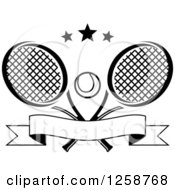 Clipart Of Black And White Stars Over Crossed Tennis Rackets And A Ball With A Banner Royalty Free Vector Illustration