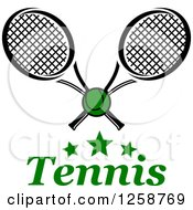 Clipart Of Stars With A Ball And Crossed Tennis Rackets Over Text Royalty Free Vector Illustration