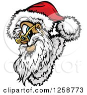 Clipart Of Santa Wearing A Hat And Spectacles Royalty Free Vector Illustration by Chromaco