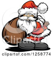 Clipart Of Santa Standing With A Sack Over His Shoulder Royalty Free Vector Illustration