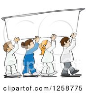 Clipart Of A Colaboration Of Workers Holding Up A Sign Royalty Free Vector Illustration by David Rey