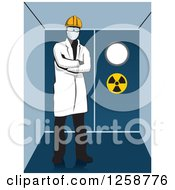 Clipart Of A Hazard Worker In Protective Gear Royalty Free Vector Illustration