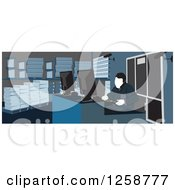Clipart Of A Warehouse Worker At A Desk Royalty Free Vector Illustration
