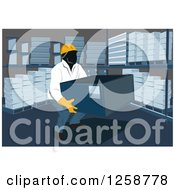Clipart Of A Worker Lifting A Box In A Warehouse Royalty Free Vector Illustration