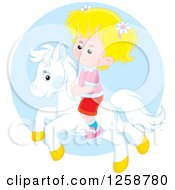 Clipart Of A Blond Caucasian Girl Riding A Pony Over A Blue Circle Royalty Free Vector Illustration by Alex Bannykh
