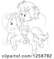 Clipart Of A Black And White White Girl Riding A Pony Royalty Free Vector Illustration by Alex Bannykh