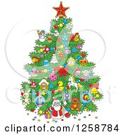 Clipart Of A Christmas Tree With Childhood Ornaments Royalty Free Vector Illustration