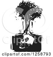 Clipart Of A Black And White Woodcut Face In A Tree Over A Skull Royalty Free Vector Illustration by xunantunich