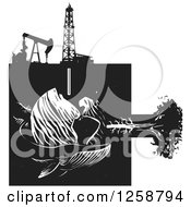 Clipart Of A Black And White Woodcut Whale Earth Tree And Oil Machinery Royalty Free Vector Illustration