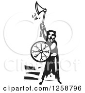 Clipart Of A Black And White Woodcut Man With An Axe And Shield Royalty Free Vector Illustration