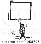 Clipart Of A Black And White Woodcut Man Holding Up A Blank Sign Royalty Free Vector Illustration